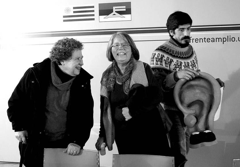 Nora Castro, Mónica Xavier y Pablo Álvarez, ayer, en el plenario de M764, en La Huella de Seregni. Foto: Pablo Vignali
