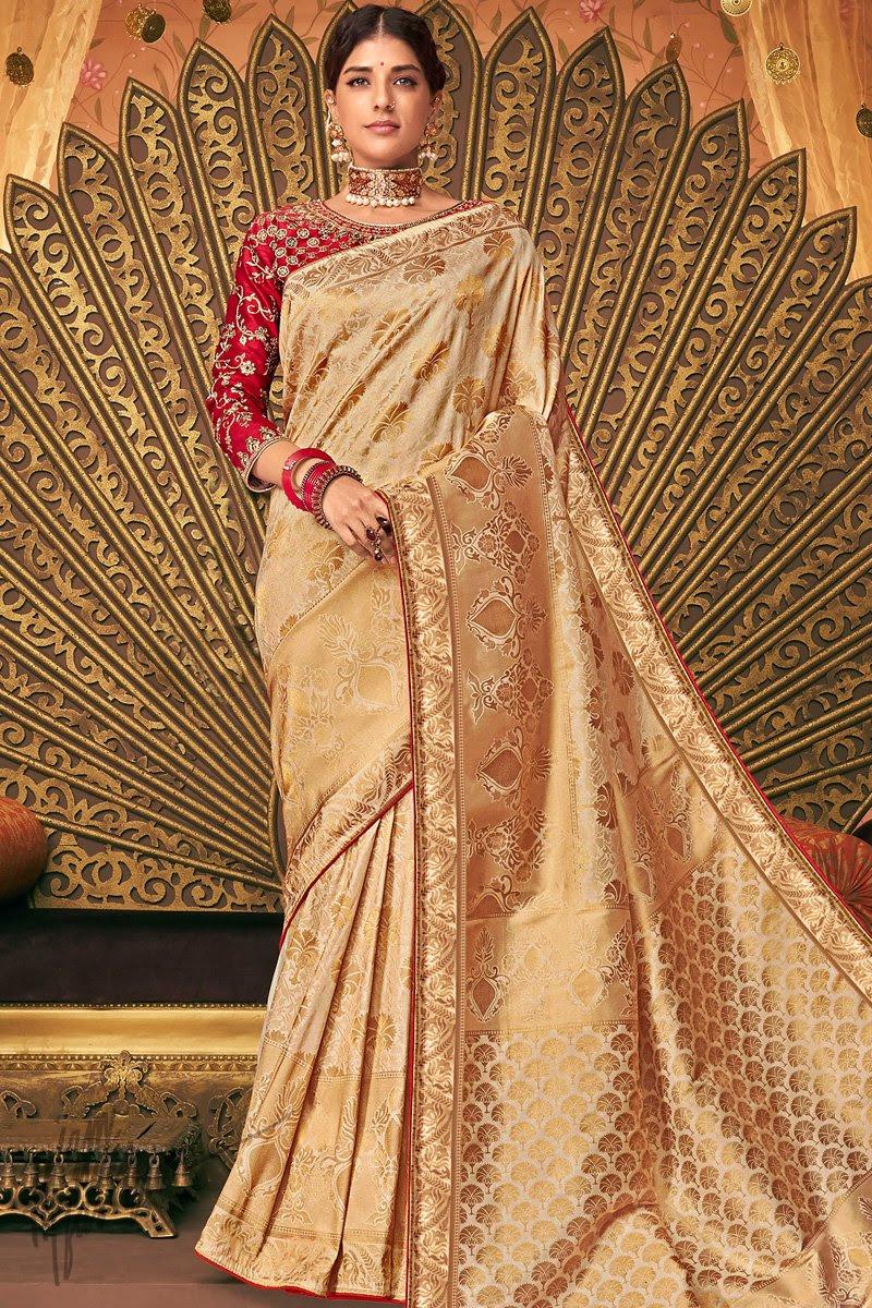 Pale Gold and Red Banarasi Silk Saree