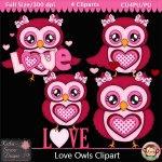 Love Owls Clipart - CU