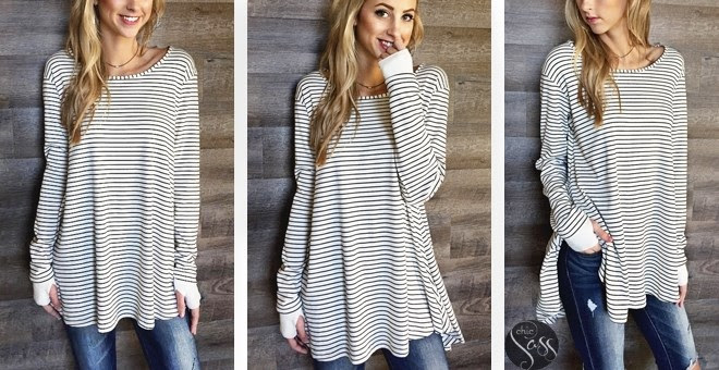 Thumb Hole Stripe Tunic Top!