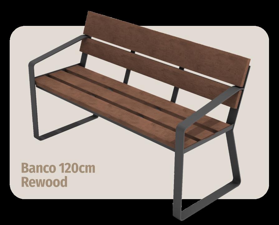 móvel para área externa: banco de madeira plástica rewood de 120cm de largura que não estraga com sol ou chuva
