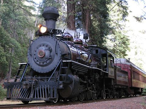 The old Engine #45 of Mendocino County's Skunk Train coming back in May 2017