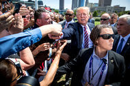 Donald J. Trump greeting supporters in Cleveland on Wednesday.