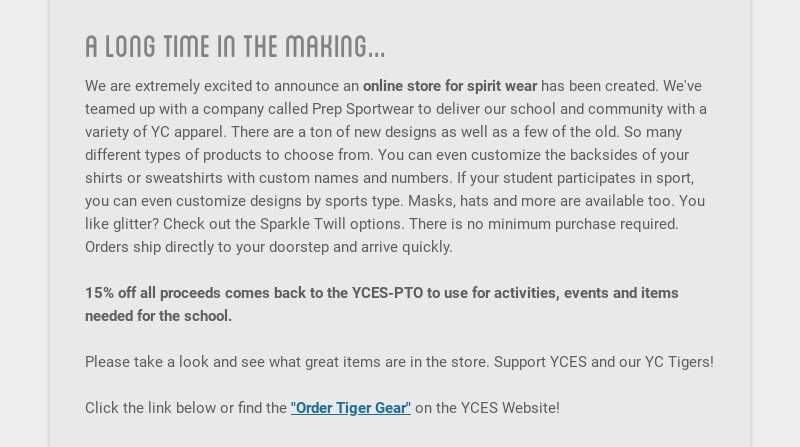 a long time in the making...                         We are extremely excited to announce an online store for spirit wear...