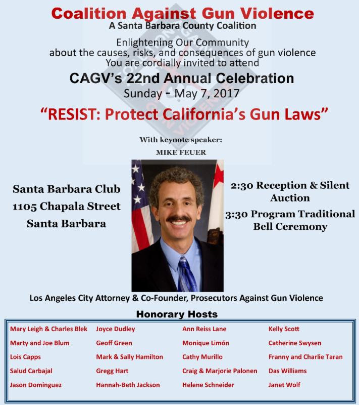 Resist: Protect California's Gun Laws, 2:30 pm silent auction and 3:30 pm Traditional Bell Ceremony. Keynote speaker Mike Feuer, LA City attorney and co-founder, Prosecutors Against Gun Violence