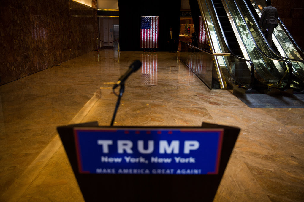 The lobby of Trump Tower in Midtown Manhattan before a news conference on Tuesday.
