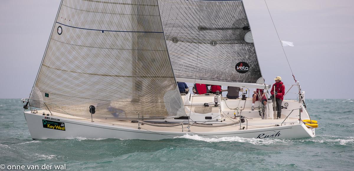 J/109 Rush sailing upwind