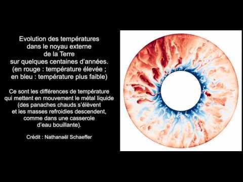 TERRE. Evolution des températures dans le noyau externe
