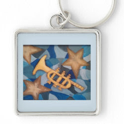 Original hand painted bugle on a keychain.