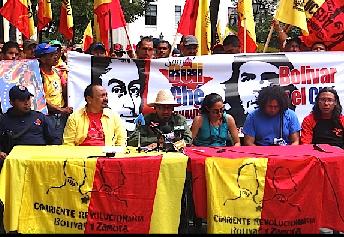 Miembros de la Corriente Revolucionaria Bolívar y Zamora en rueda de prensa