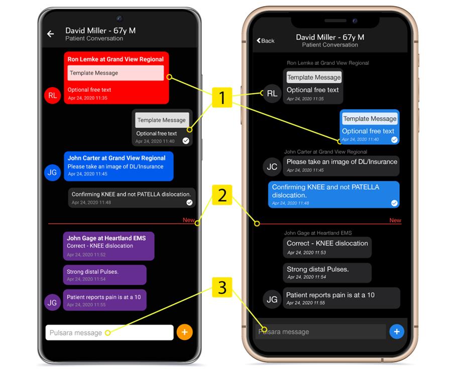 Team messaging screens