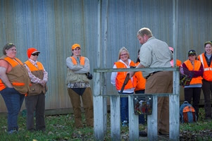 Participants getting instructions at ladies pheasant hunting outing