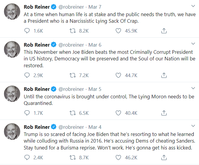 unhinged Rob Reiner Tweets