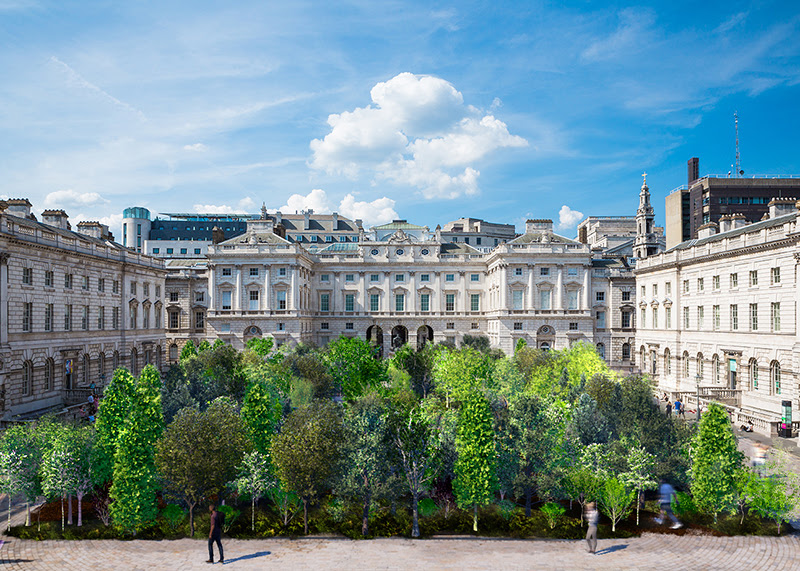 An artist's impression of Forest for Change. Hundreds of green, leafy trees are shown in the courtyard at Somerset House.