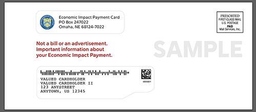 Sample envelope for Economic Impact Payment debit cards