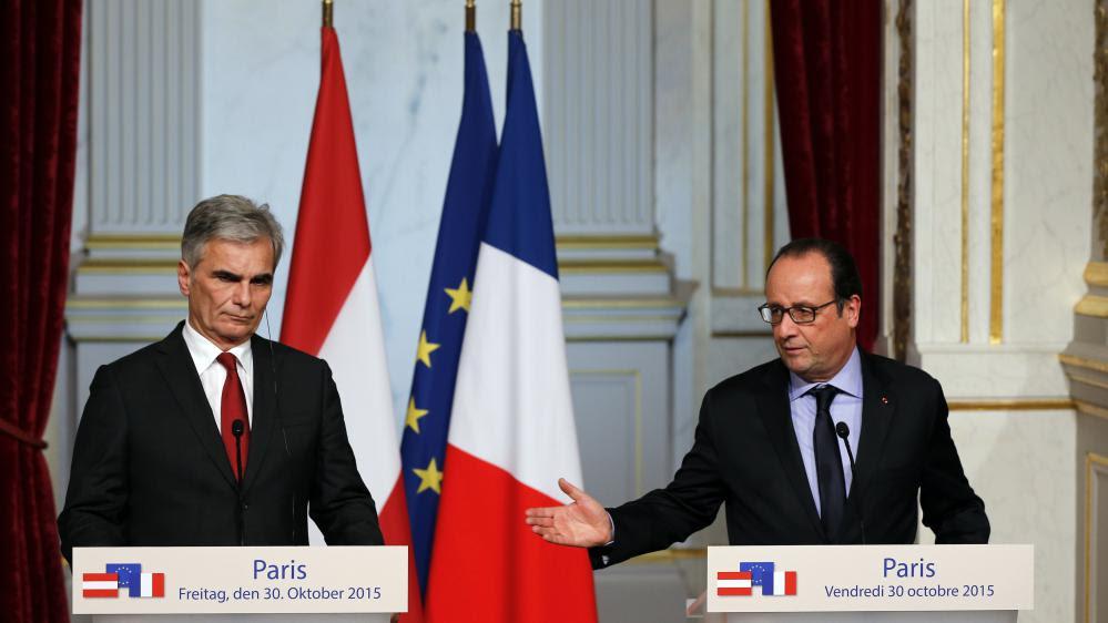 François Hollande (à droite) etWerner Faymann, le chancelier Autrichien, le 30 octobre 2015.