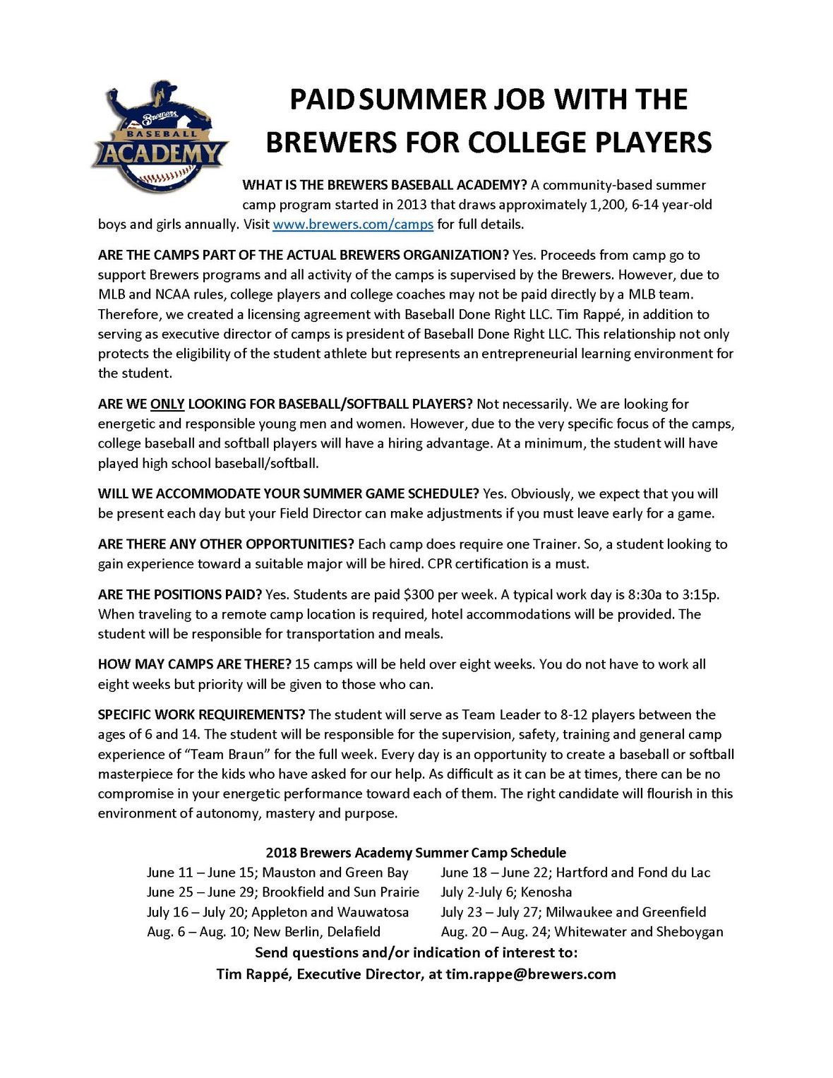 Brewers Academy Team Leaders Wanted 2018
