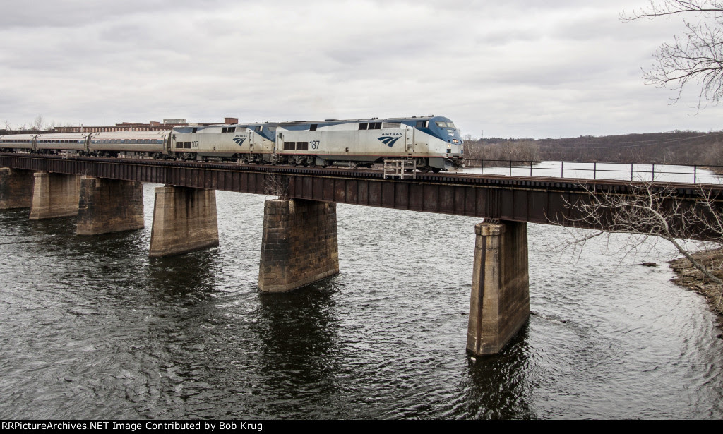 Amtrak's southbound VERMONTER crosses the Connecticut River from Holyoke (west shore)  to Chicopee (east shore)
