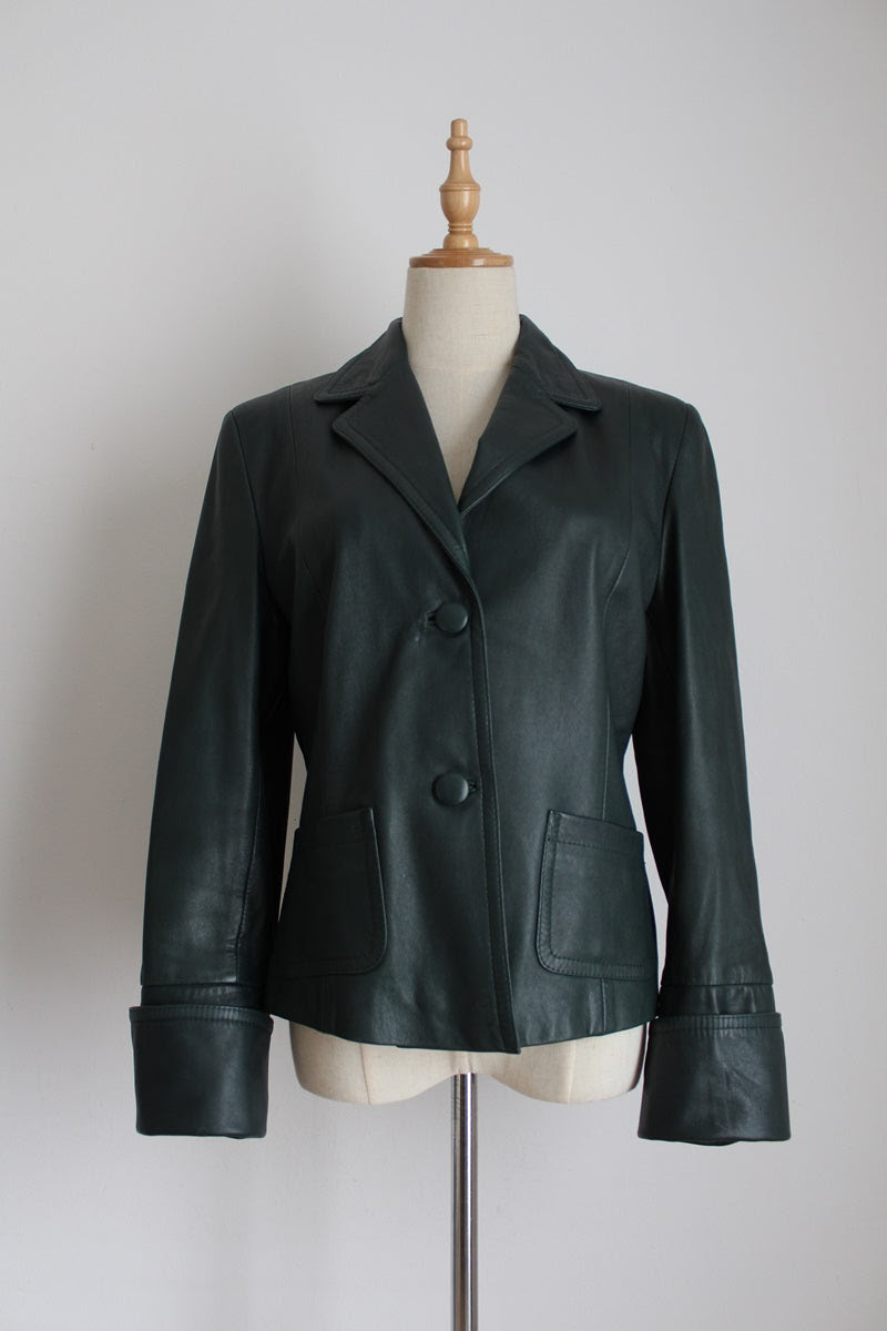 MONA GENUINE LEATHER FOREST GREEN CUFFED JACKET - SIZE 8