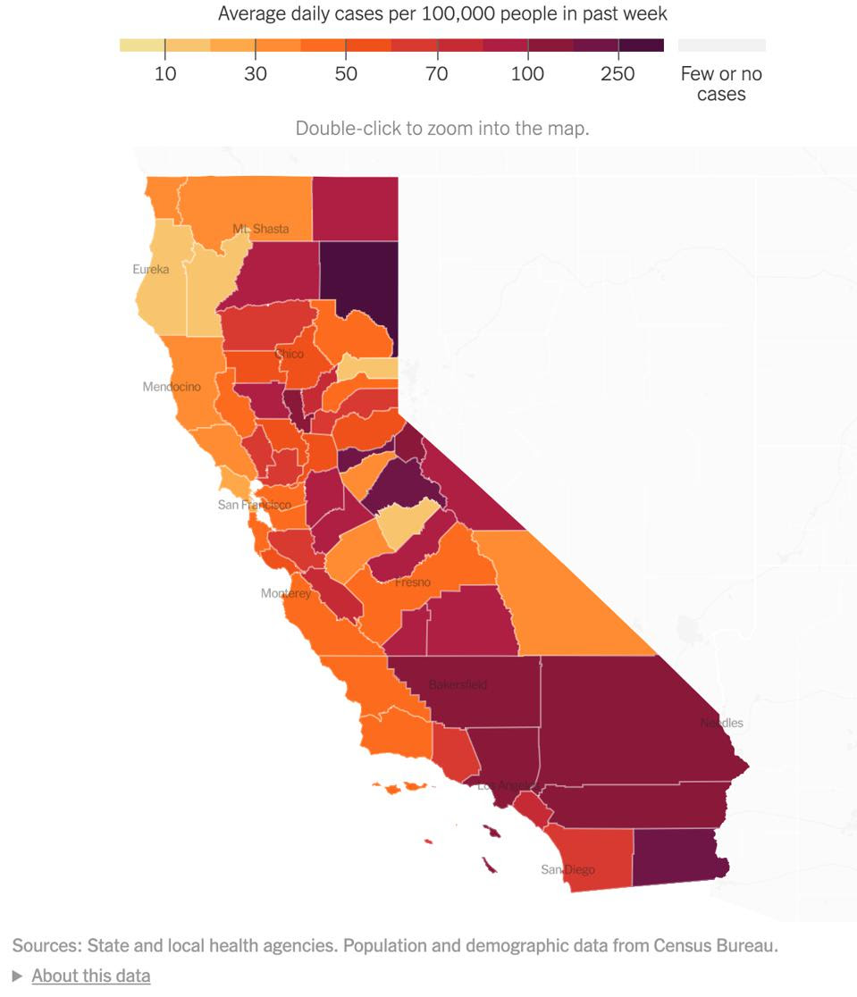 A map depicting the average daily cases per 100,000 people in the past week in California.