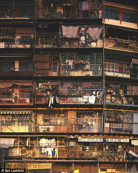 Residents lived in cramped quarters and used their balconies to store belongings