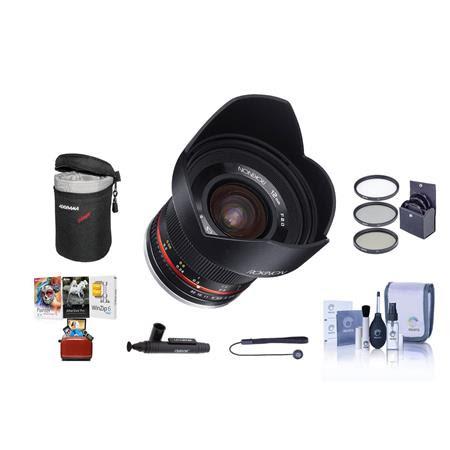12mm f/2.0 NCS CS Manual Focus Lens Fuji X Mirrorless Cameras Bundle With 67mm Filter Kit,
