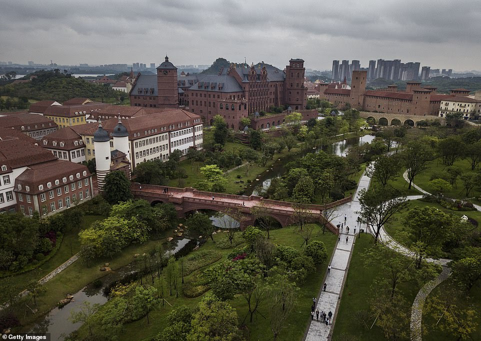 Sprawled across 1.2 square kilometres (296 acres), the glamorous Huawei Songshan Lake Base in Dongguan, south China has redbrick castles, marble mansions, fountains and narrow winding alleys inspired by 12 European cities