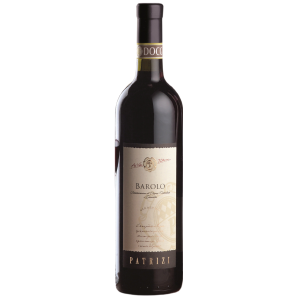 A bottle of Barolo DOCG by Patrizi 2016 standing upright showing the label.