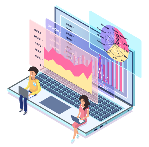 illustration of two people sitting on a computer with charts and graphs