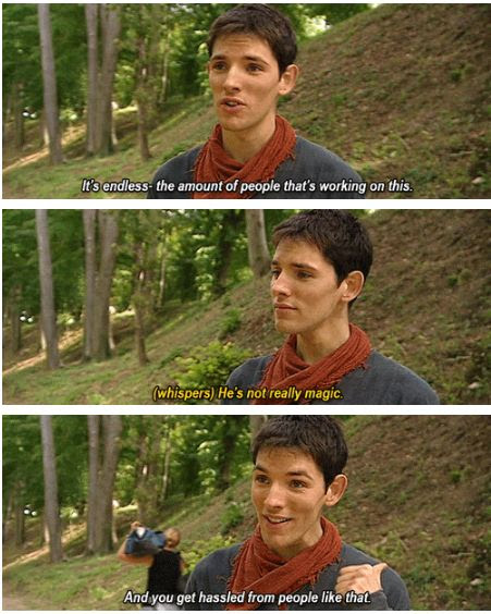 Colin Morgan - Merlin behind the scenes (gif). Cols is so adorable!
