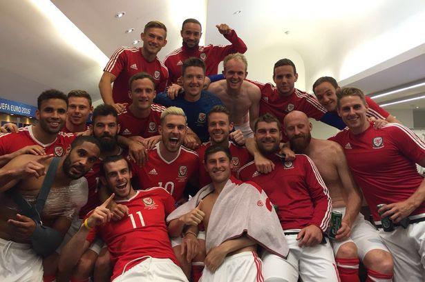 The stunning dressing room scenes as Wales' heroes celebrate