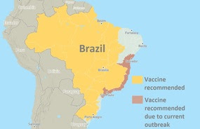 Brazil yellow fever vaccine recommendation map