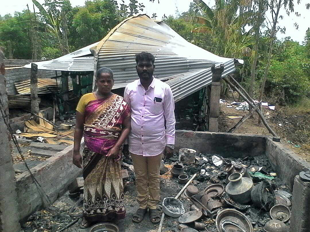 Pastor John Muller and his pregnant wife lost their home and church building to arson in Tamil Nadu state. (Morning Star News)