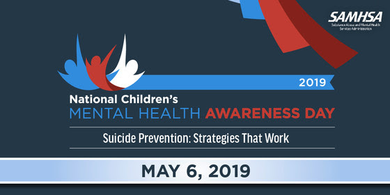 National Children's Mental Health Awareness Day Banner in red, white, and blue.