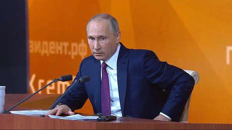 Vladímir Putin durante su 13.ª rueda de prensa anual, el 14 de diciembre de 2017.