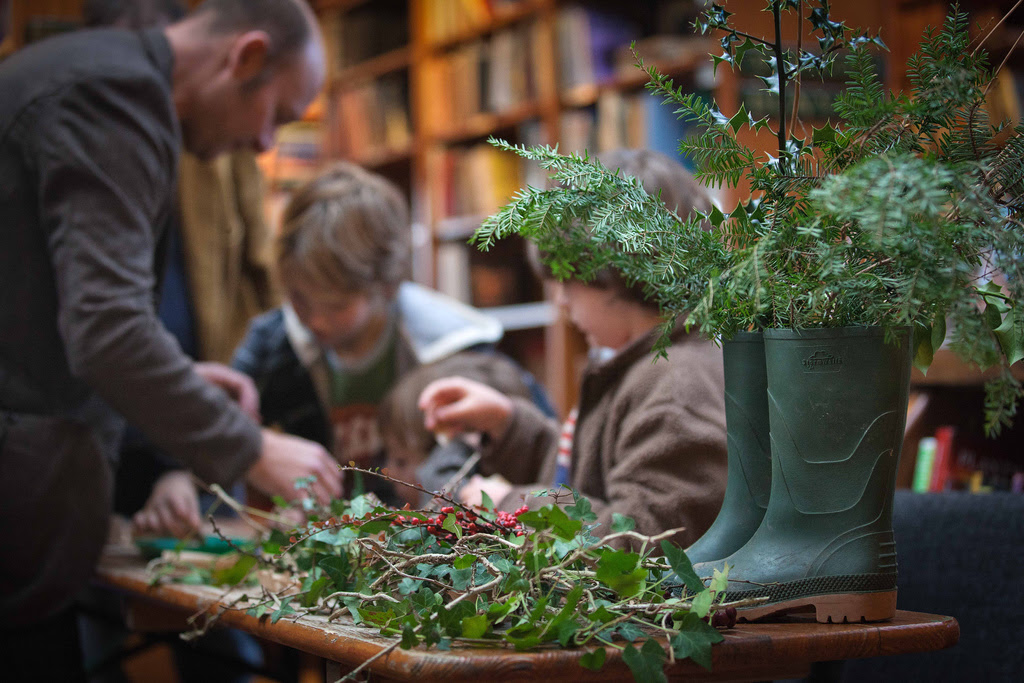 Making decorations at Richard Booth's Bookshop