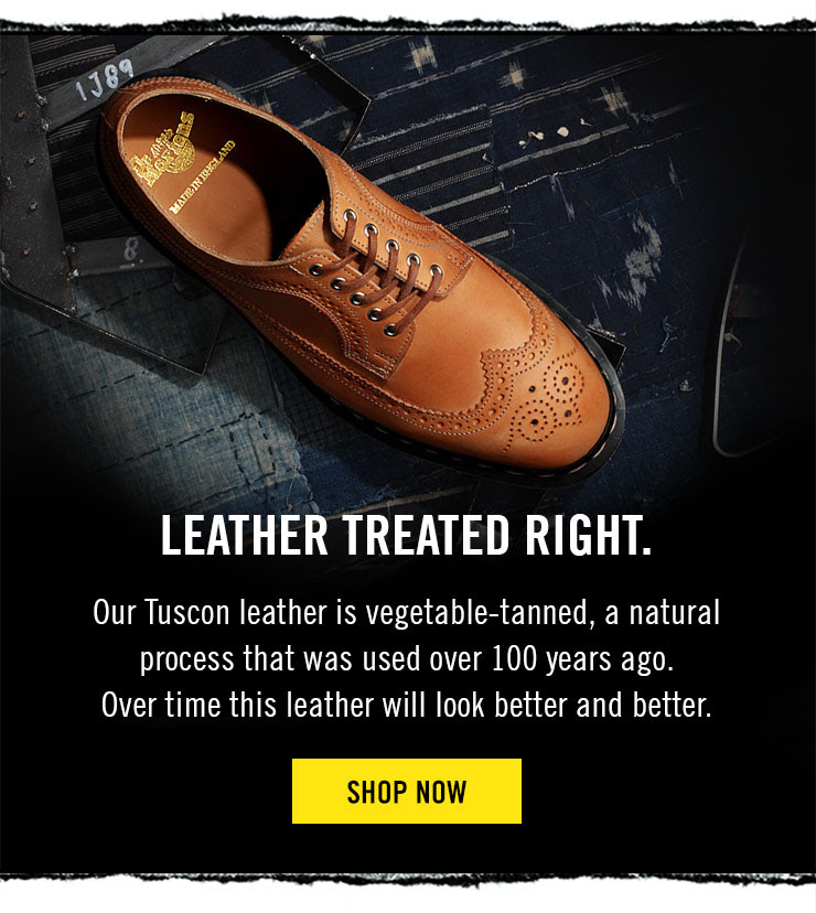LEATHER TREATED RIGHT - Our Tuscon leather is vegetable-tanned, a natural process that was used over 100 years ago. Over time this leather will look better and better - Shop now