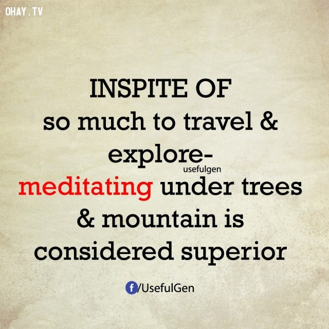 4. Mặc dù có nhiều nơi để du lịch và khám phá nhưng thiền định dưới gốc cây và núi được xem là tốt hơn.,nghịch lý cuộc sống,điều nghịch lý lại vô cùng có lý,suy ngẫm