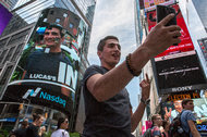 Lucas Morissette, a tourist visiting from Vancouver, took a mega-selfie in Times Square on Thursday.