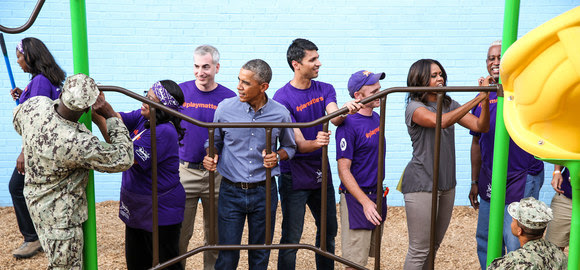 September 11 Day of Service KaBoom! President with AmeriCorps members