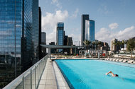 The pool at Marriott Marquis Houston. The hotel, which opened the day after Christmas, will serve as Super Bowl headquarters for the N.F.L.
