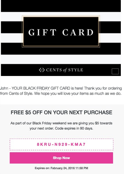 $5 Gift Card w/ $25.00 Purchase
