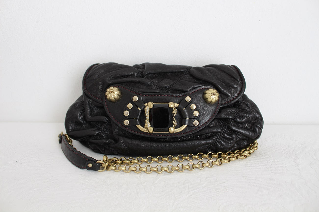 JUICY COUTURE BLACK GENUINE LEATHER CHAIN BAG