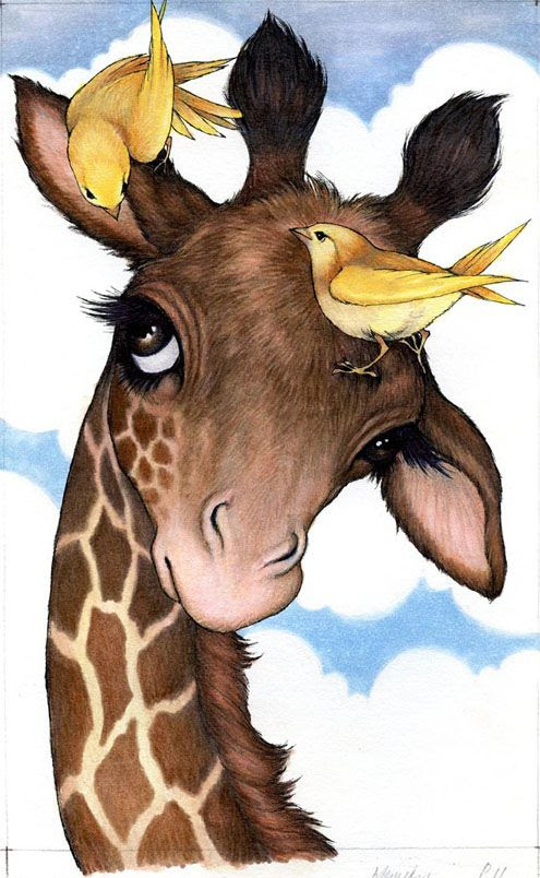 Robin James.net EStore, Giraffe and birds illustration inspriation: