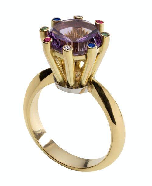 David McCauley 18 carat yellow gold gem set ring