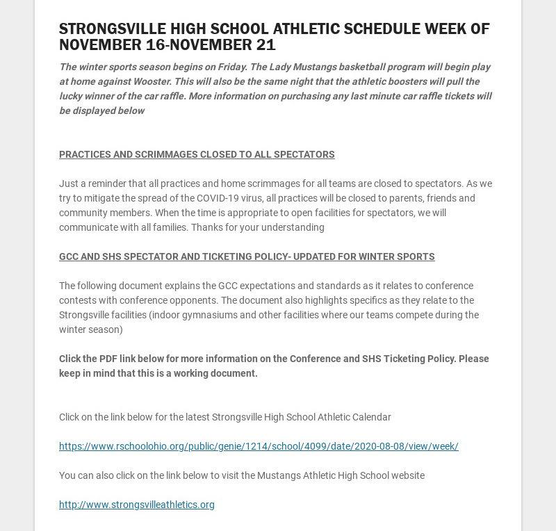 STRONGSVILLE HIGH SCHOOL ATHLETIC SCHEDULE WEEK OF NOVEMBER 16-NOVEMBER 21 The winter sports...