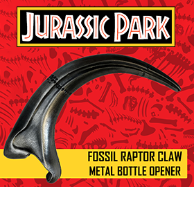 JURASSIC PARK FOSSIL RAPTOR CLAW METAL BOTTLE OPENER
