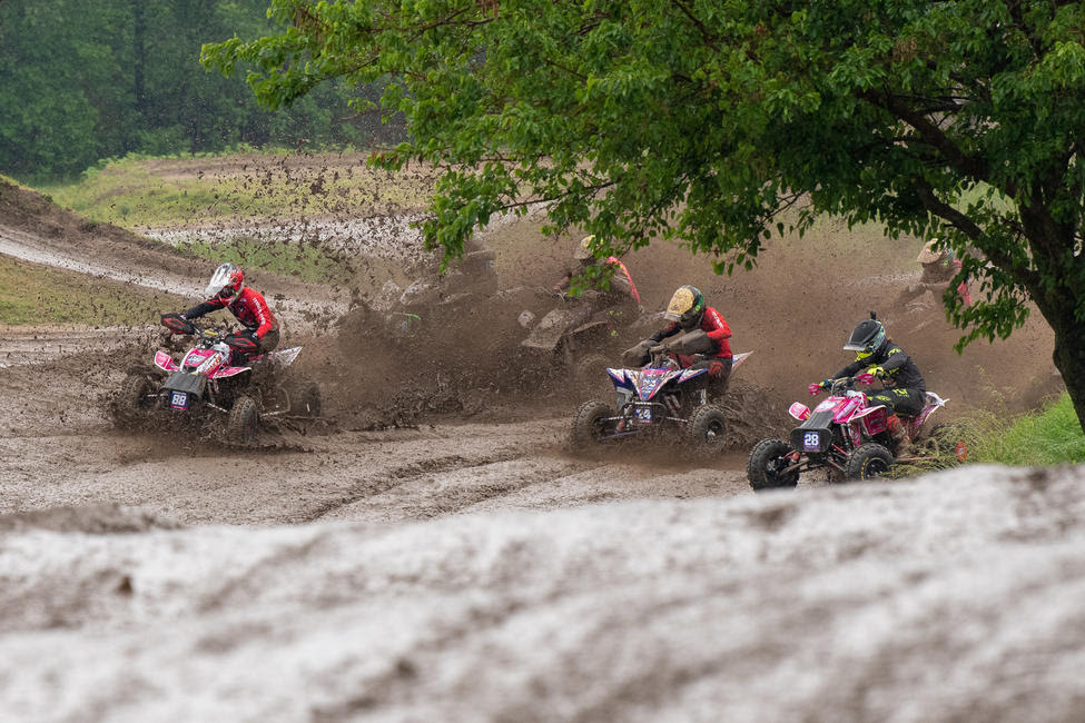 As the rain fell, the muddy conditions took over the Sunset Ridge ATVMX National.