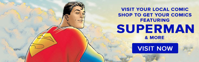Superman Grant Morrison art themed comic shop locator banner
