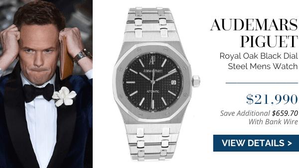 AP Royal Oak Black Dial Steel Watch